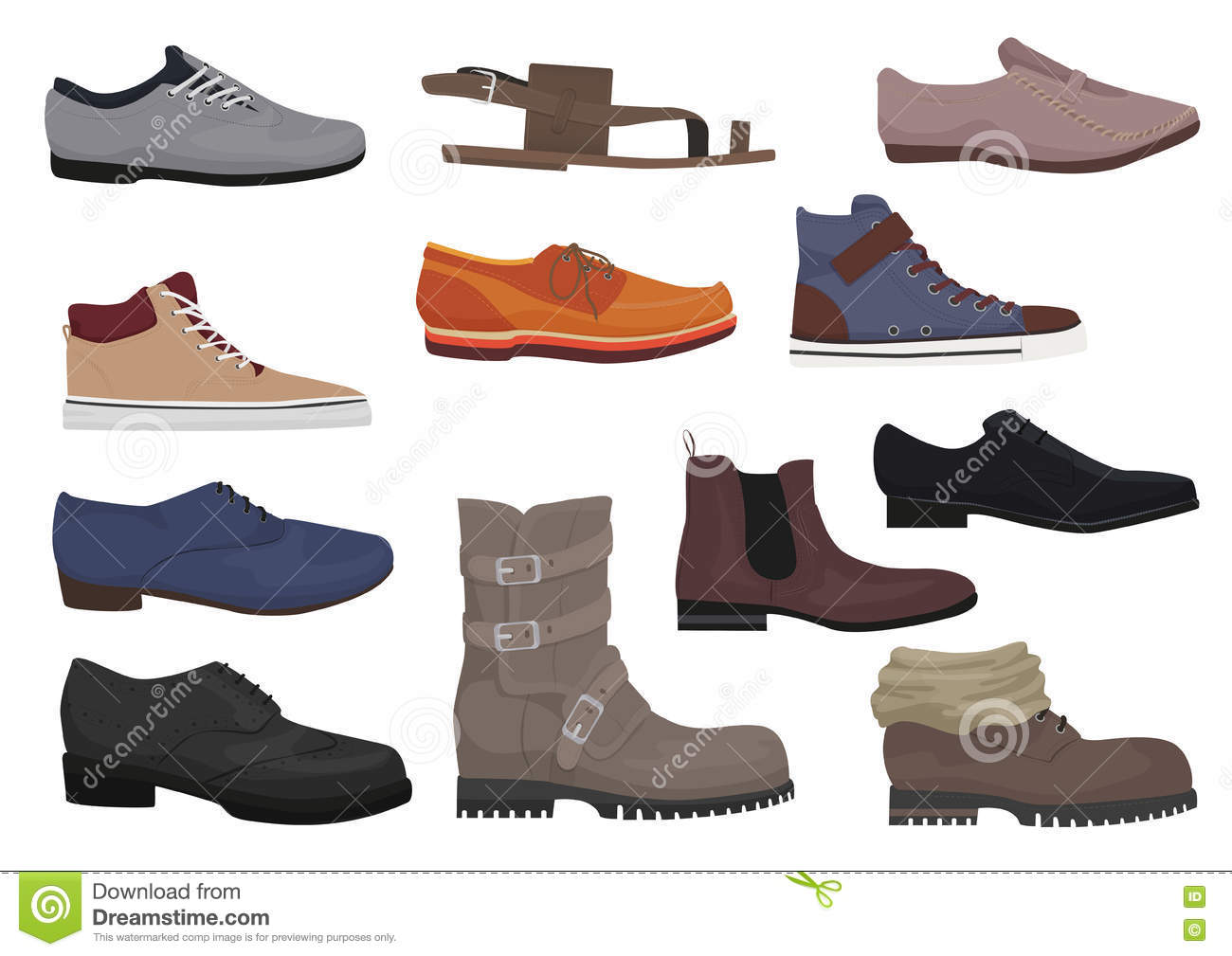 83184f20a9 Men Boots Set. Male Man Season Shoes Icons Collection. Stock Vector ...