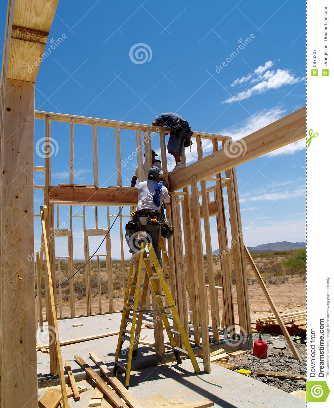 Men building frame for house vertical stock image for Build a house online free