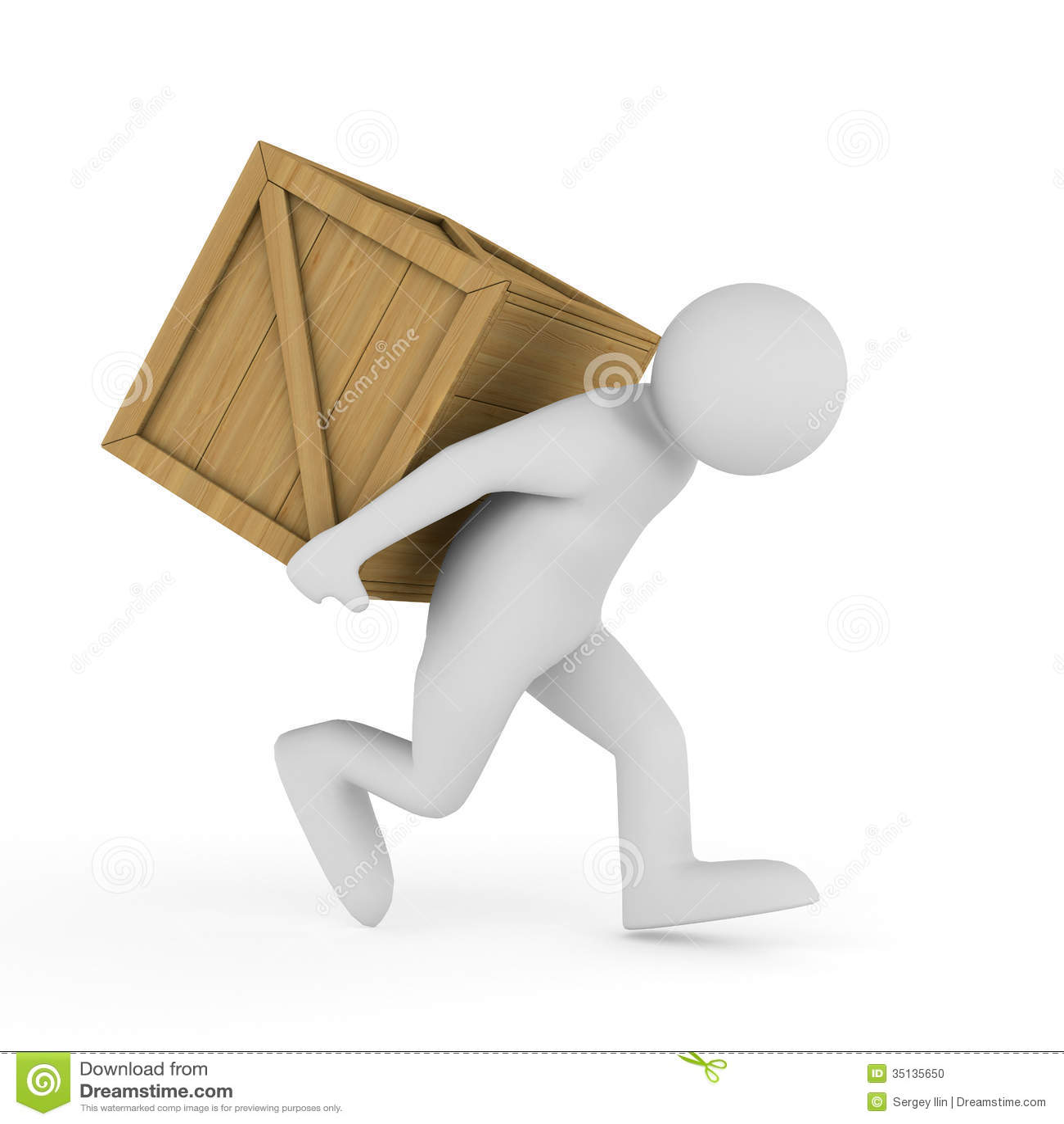Men carry box on back stock illustration. Illustration of business - 35135650