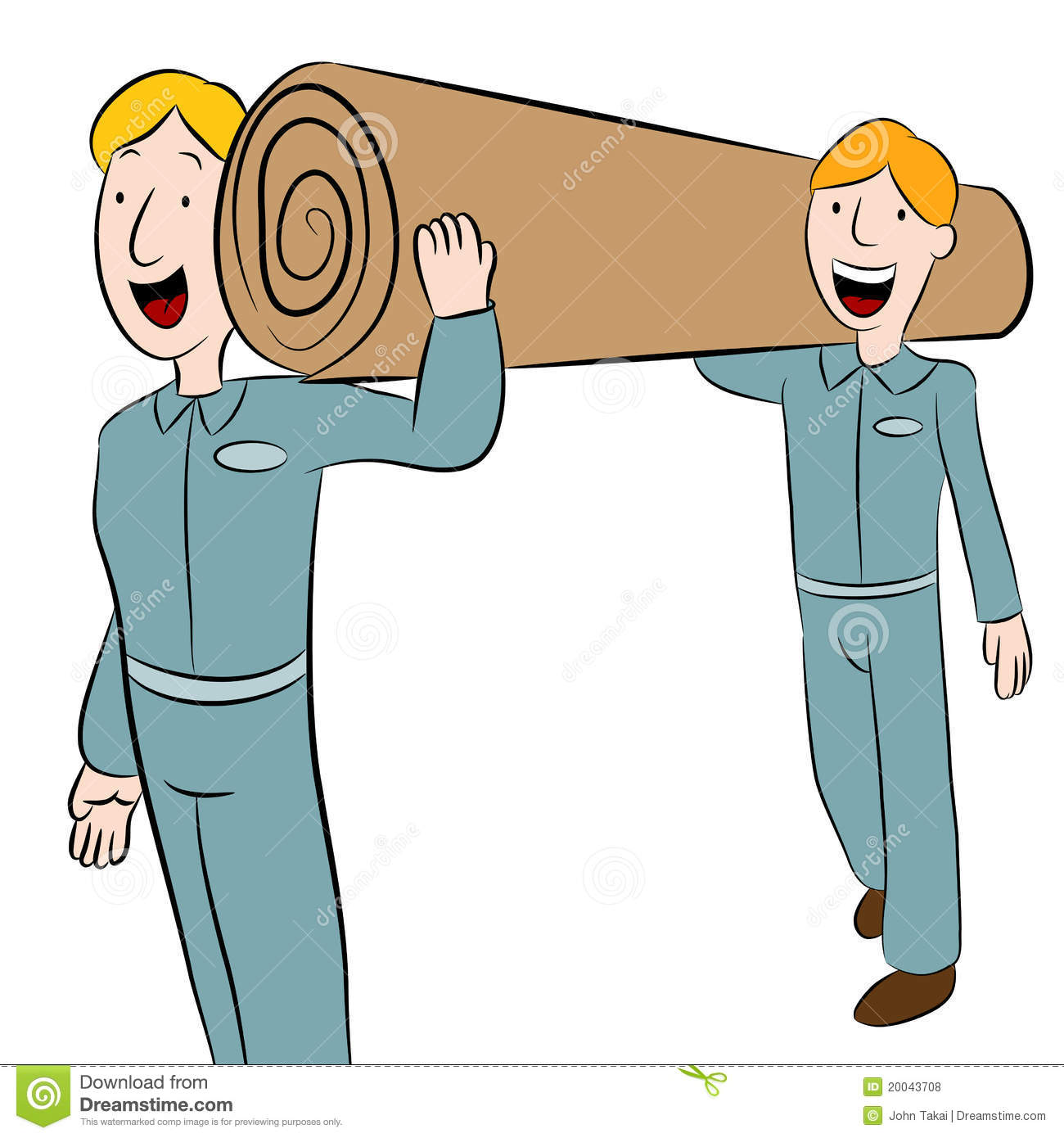 Men carrying a roll of carpet royalty free stock photos for Cartoon carpet