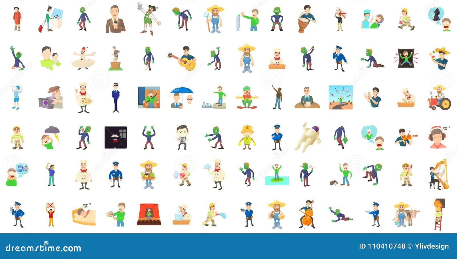 Men characters icon set, cartoon style