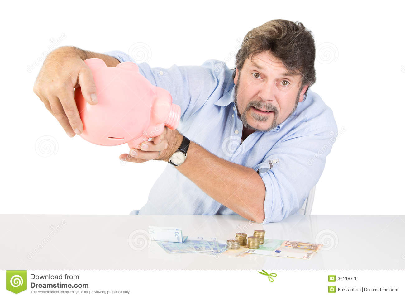 Men Counting His Saving Money From The Piggy Bank Stock