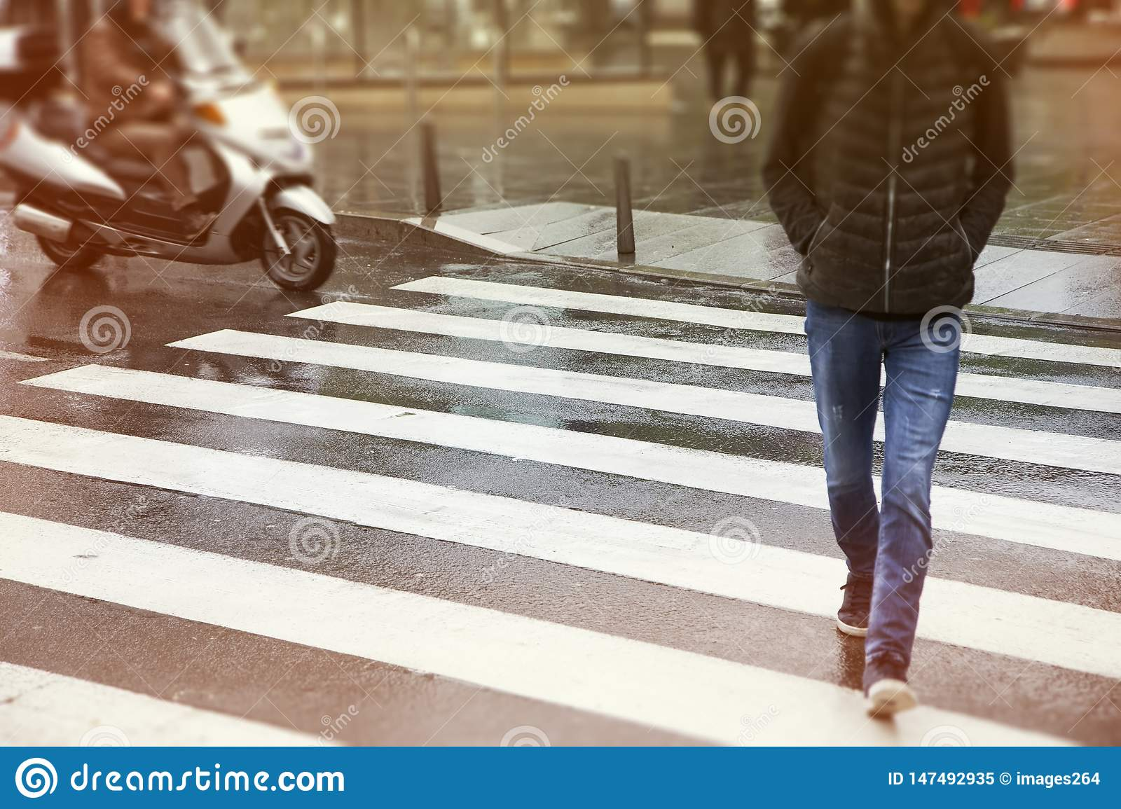 Men crossing the street