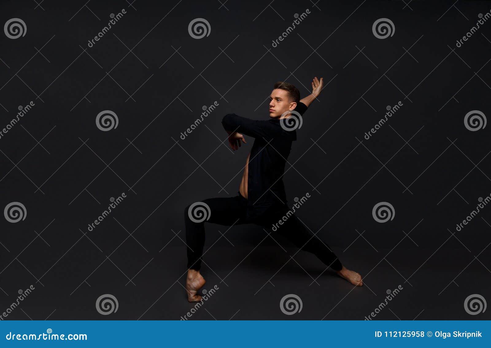 the guy is dancing