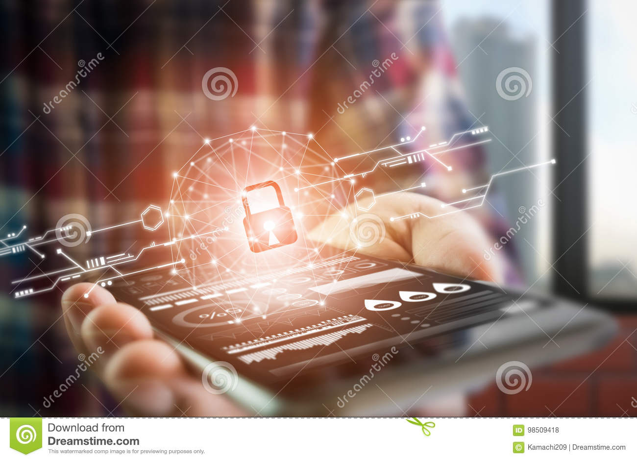 Men dress up lifestyle hold smartphone screen shows the key in the Security online world. the display and technology advances