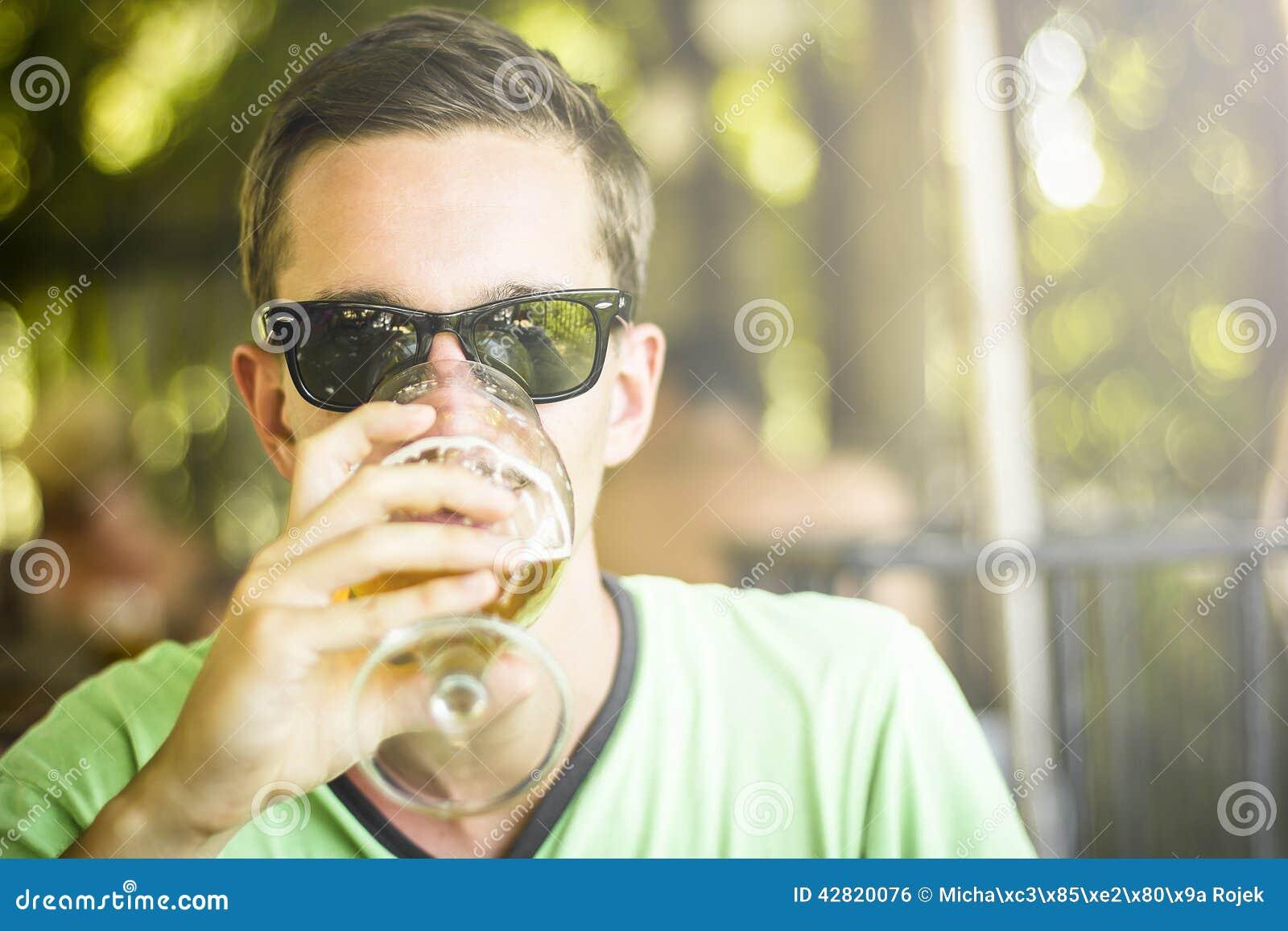 Men drinking beer.