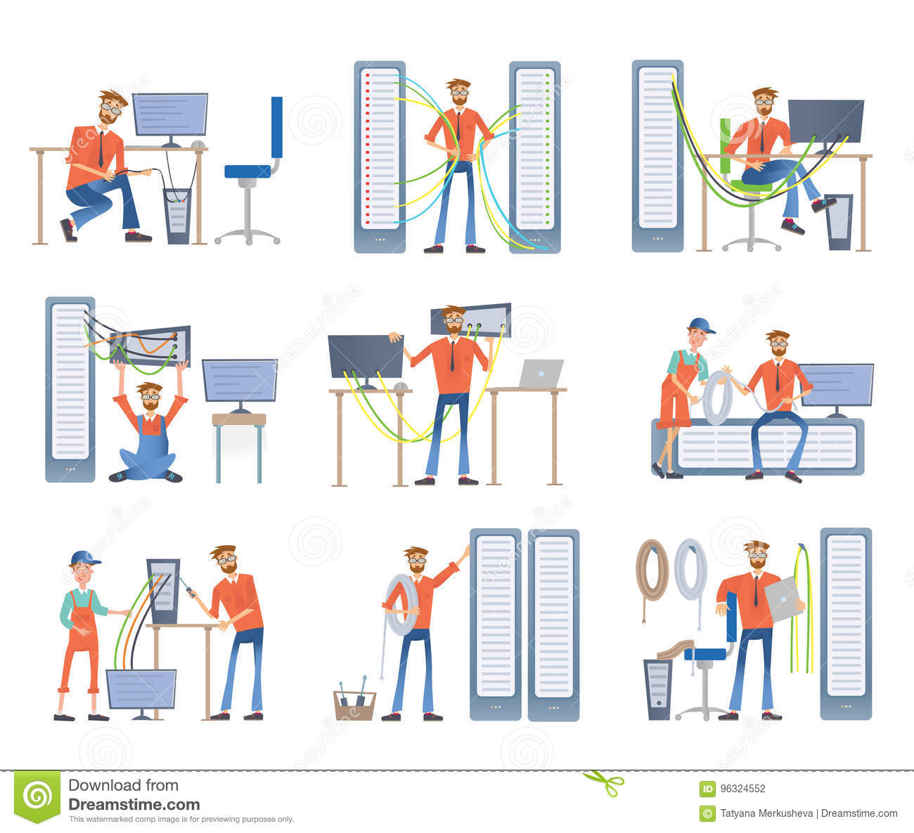Men are engaged in repair and maintenance of servers and computers. System administrators. Vector illustration set