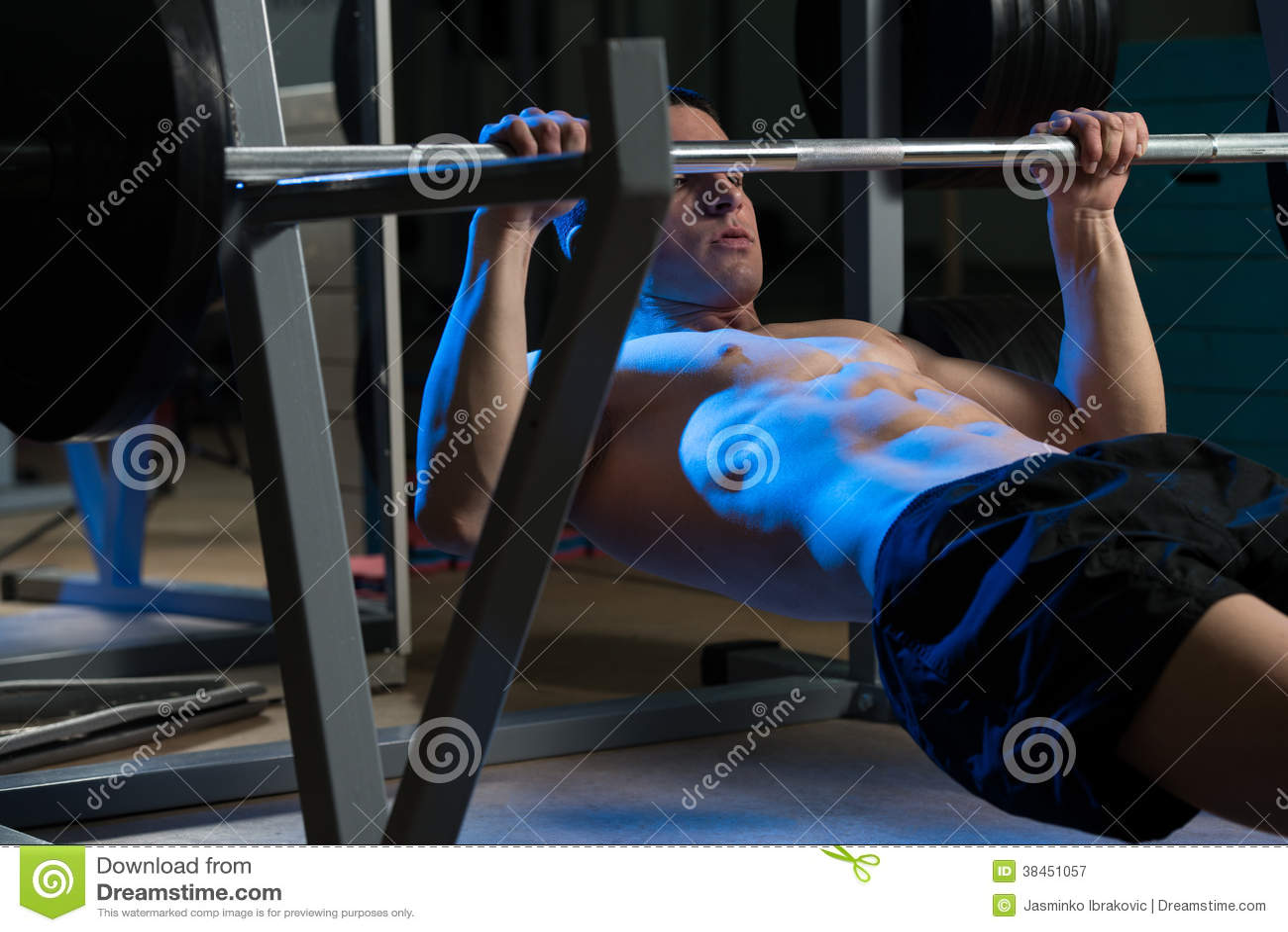 Men Exercising Back On Horizontal Barbell Pull Up Stock Image