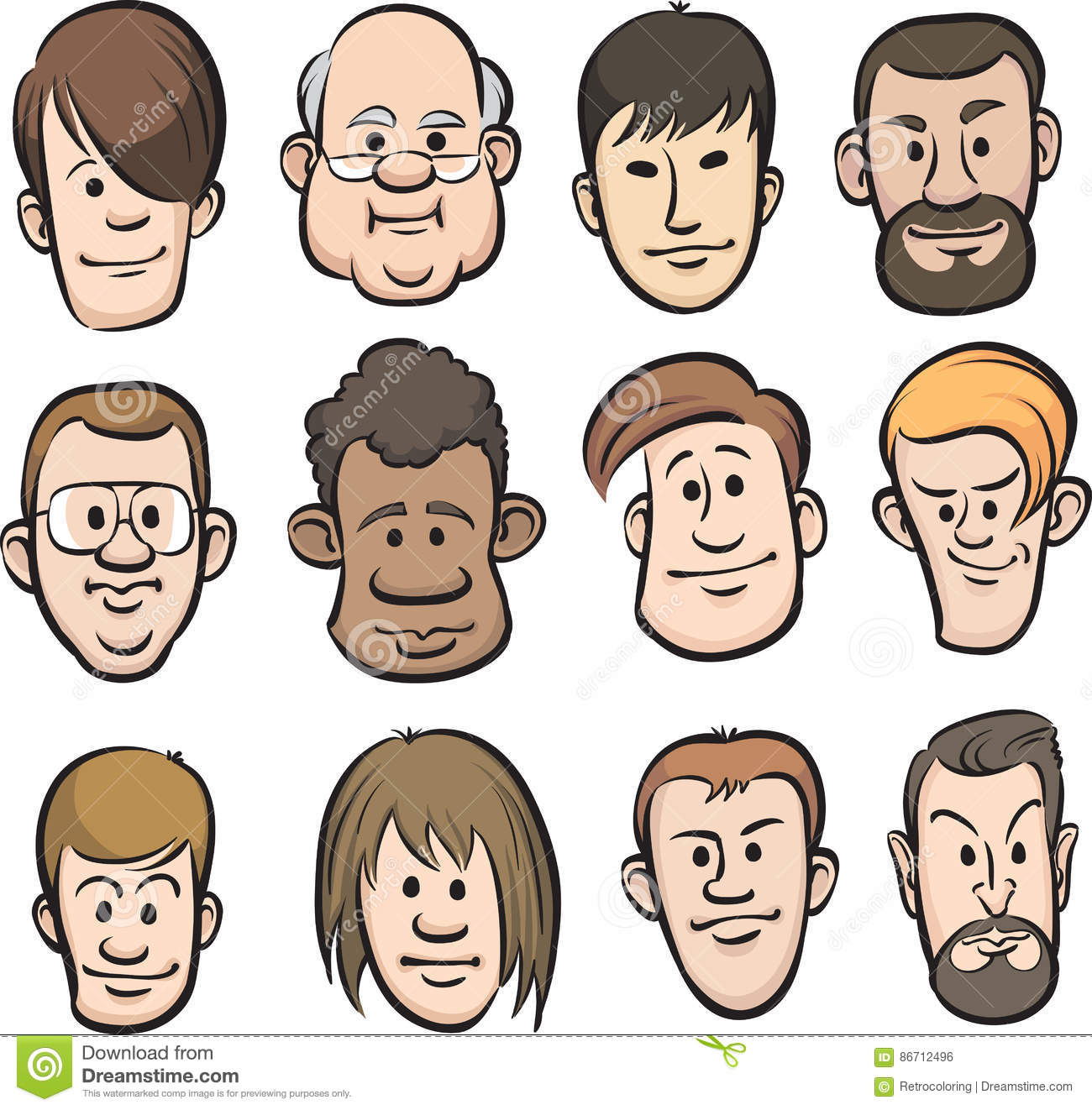 men faces cartoon heads stock vector illustration of isolated