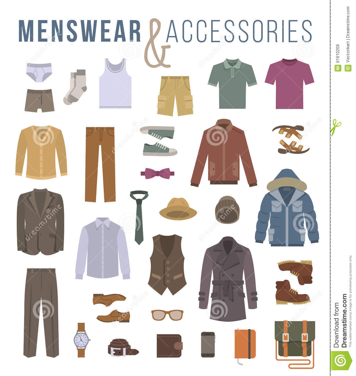 Men Fashion Clothes And Accessories Flat Vector Icons Stock Vector Image 61610209