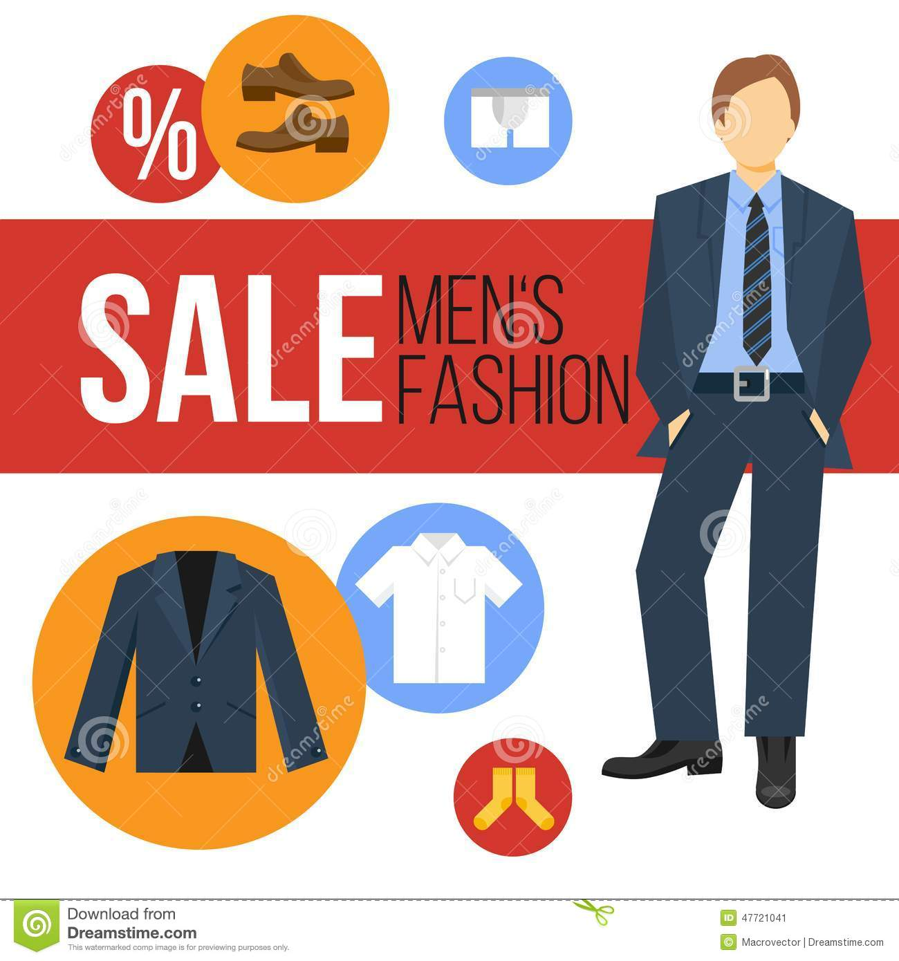 Men Fashion Clothes Sale Stock Vector - Image: 47721041