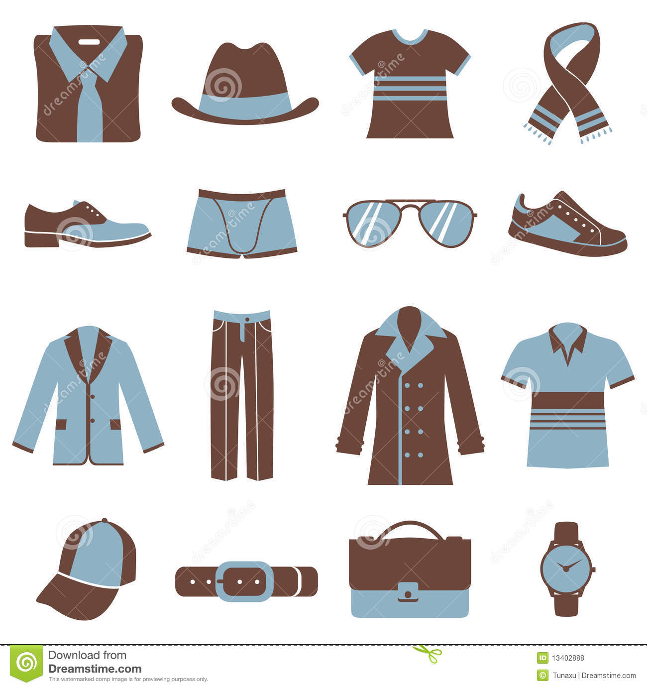 Men Fashion Icons Stock Vector Image Of Blue Symbol 13402888