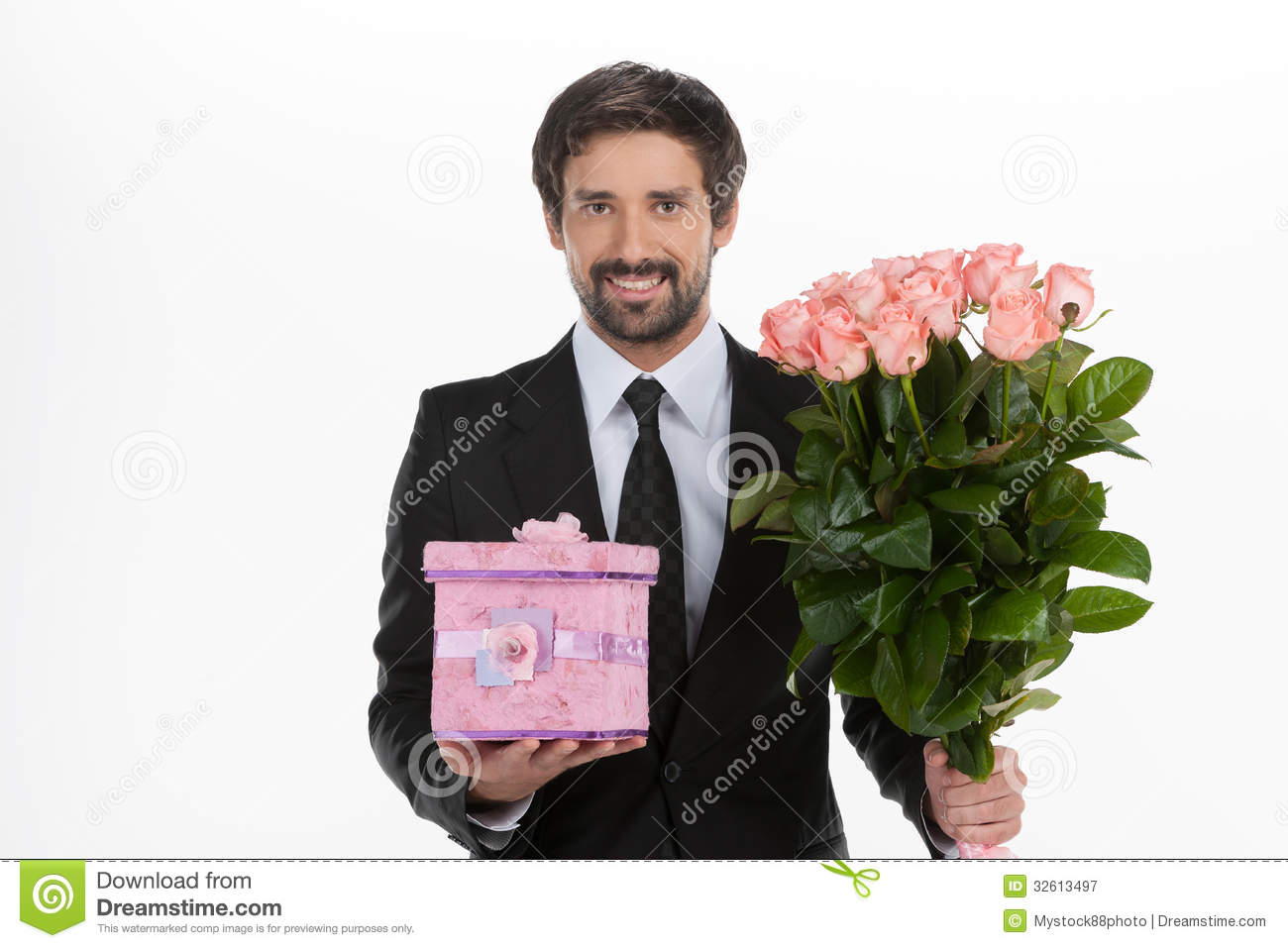 Gifts For Young Men: Men With Gift Box And Flowers. Stock Image