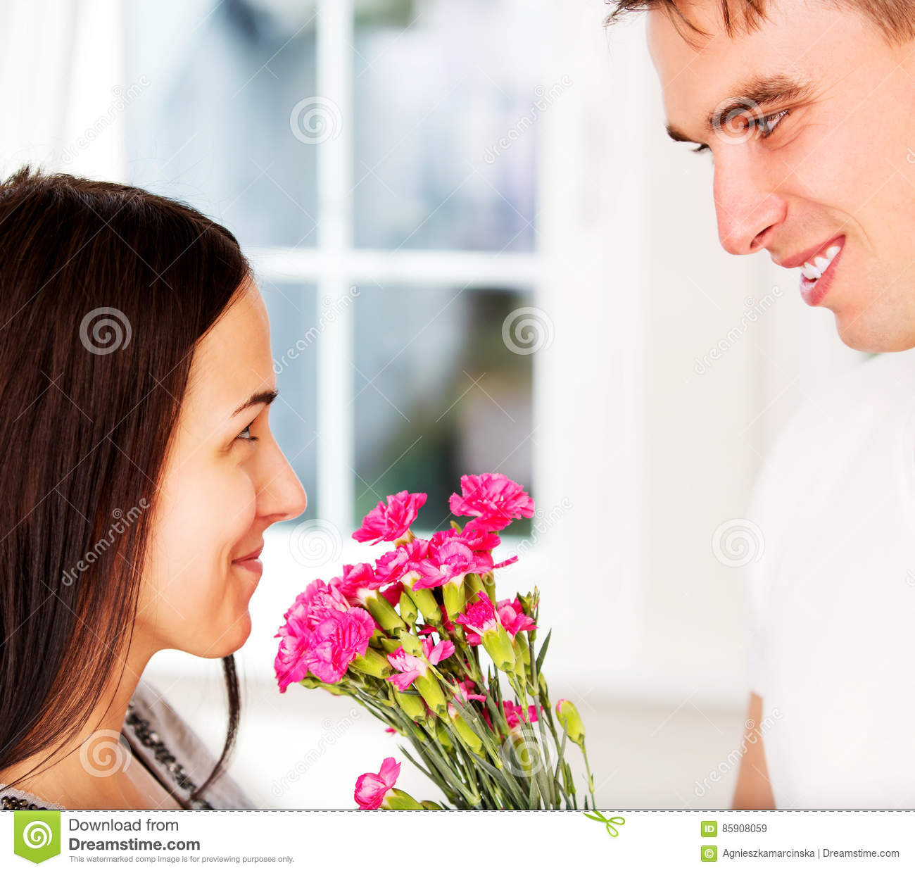 Men Giving Flowers To His Lover Woman