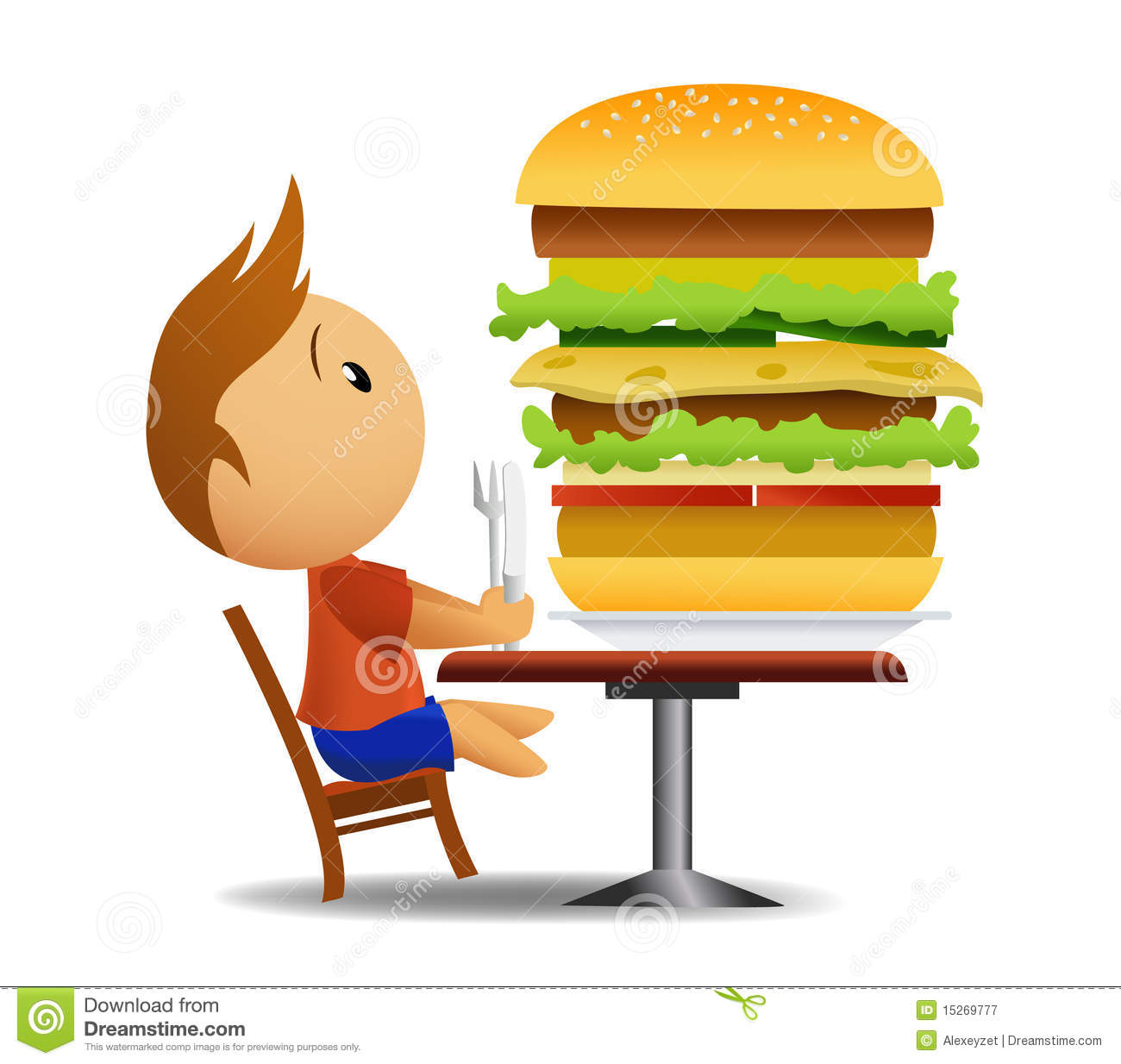 Cartoon hamburger fast food cartoon fast food cartoon cartoon pictures - Men Going To Eat Very Big Hamburger Stock Vector Image