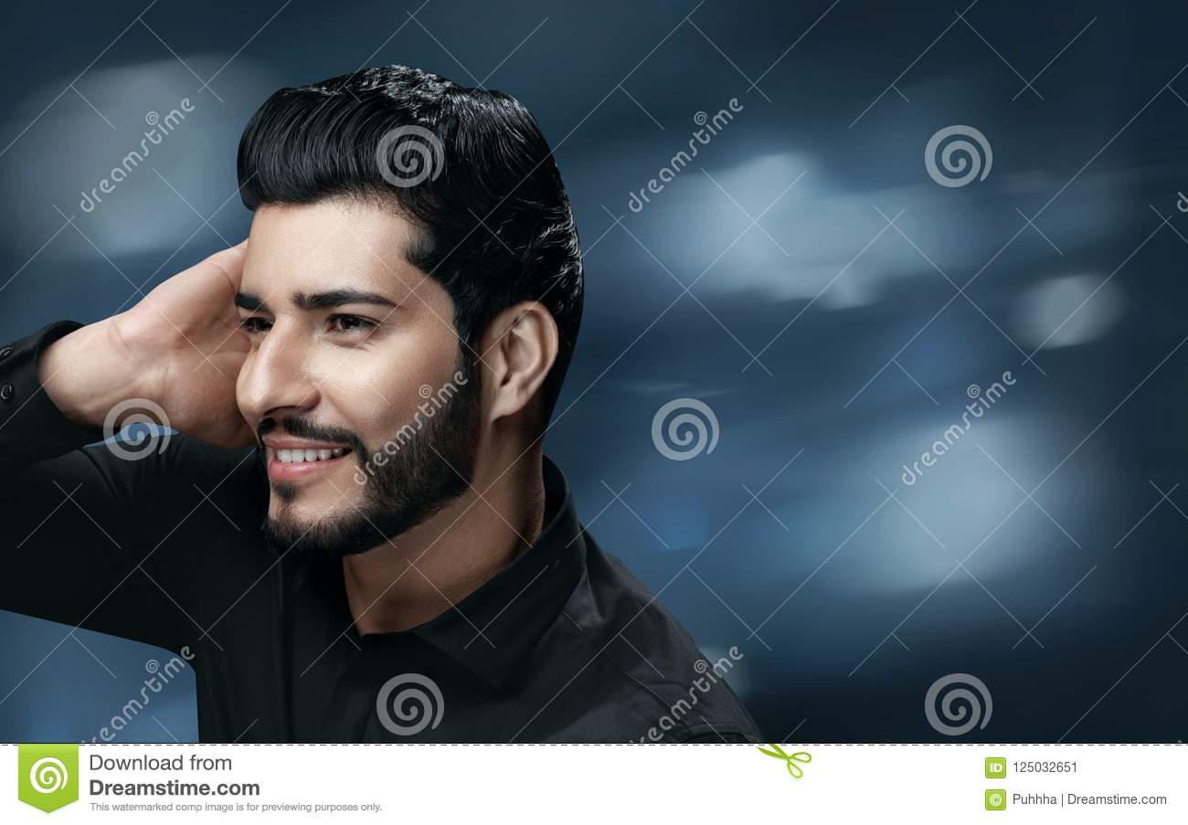 Men Hair Care Handsome Man With Beard Touching Healthy Hair Stock