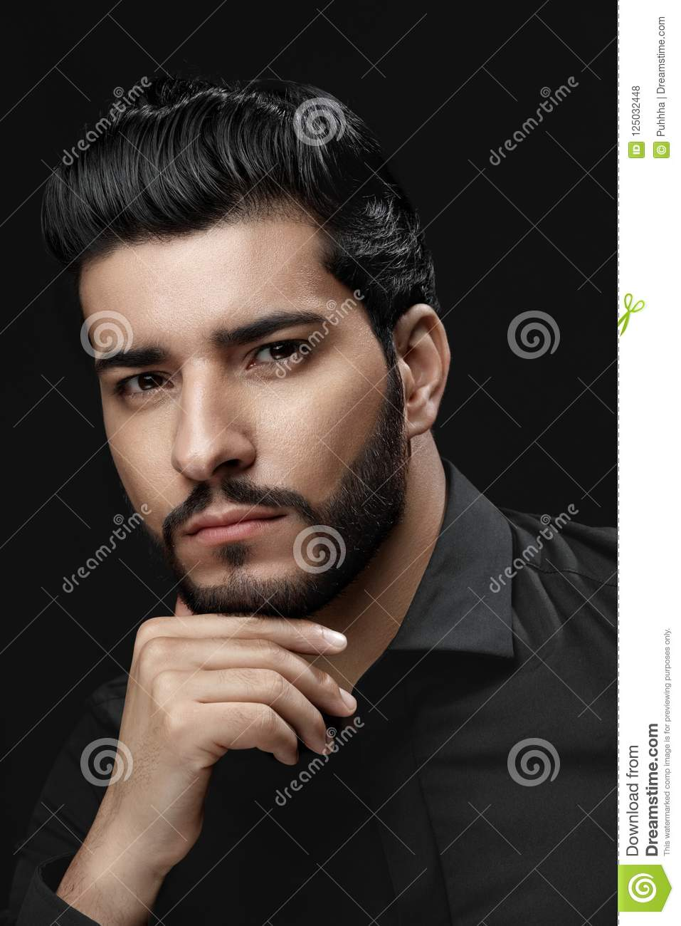 Men Haircut Man With Hair Style Beard And Beauty Face Portrait
