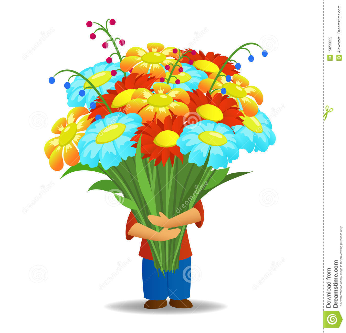 Men Hold Bouquet Flowers Stock graphy Image