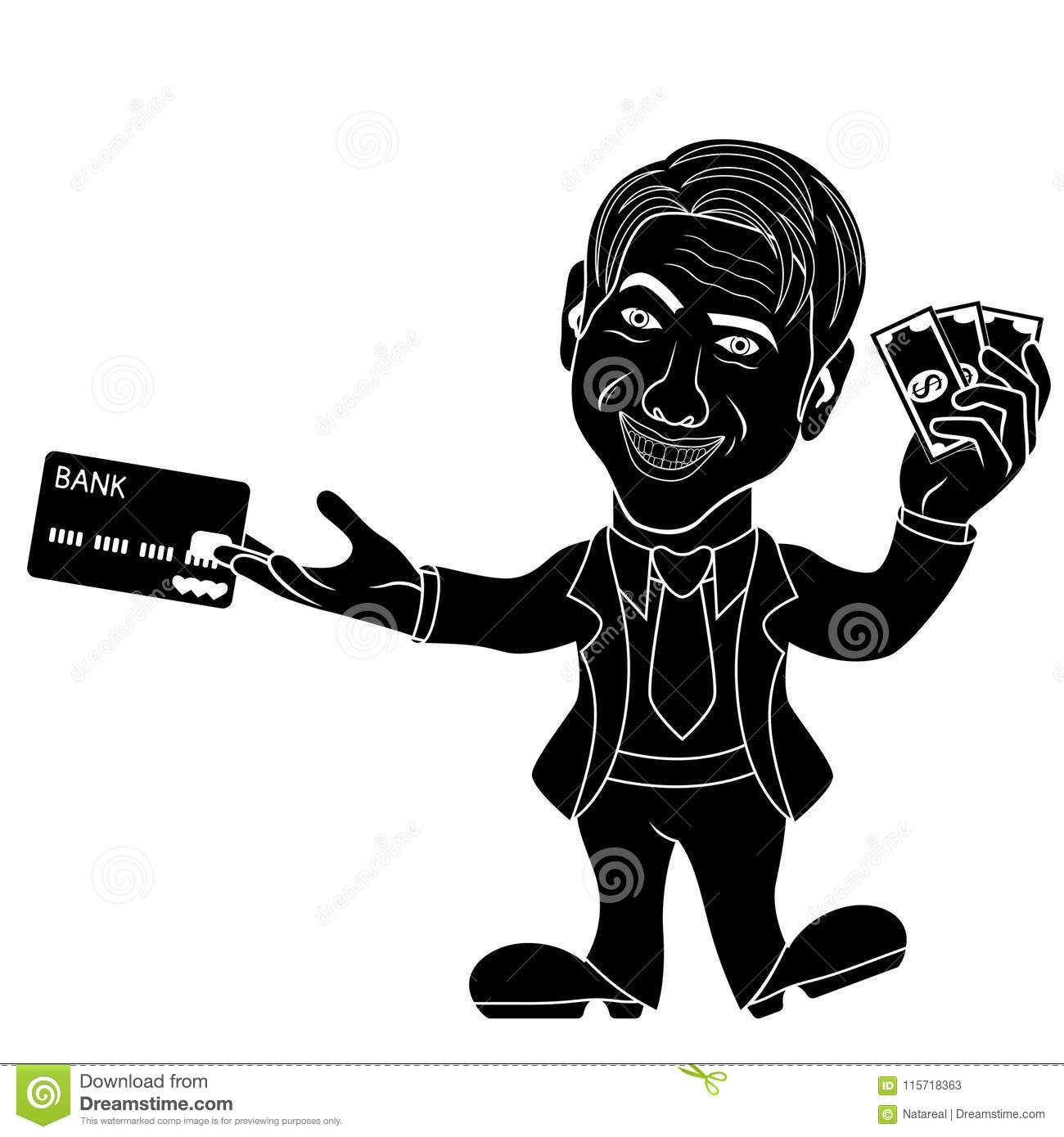 Silhouette of smiling and joyful man holds the dollar bills and credit card cartoon stencil vector illustration