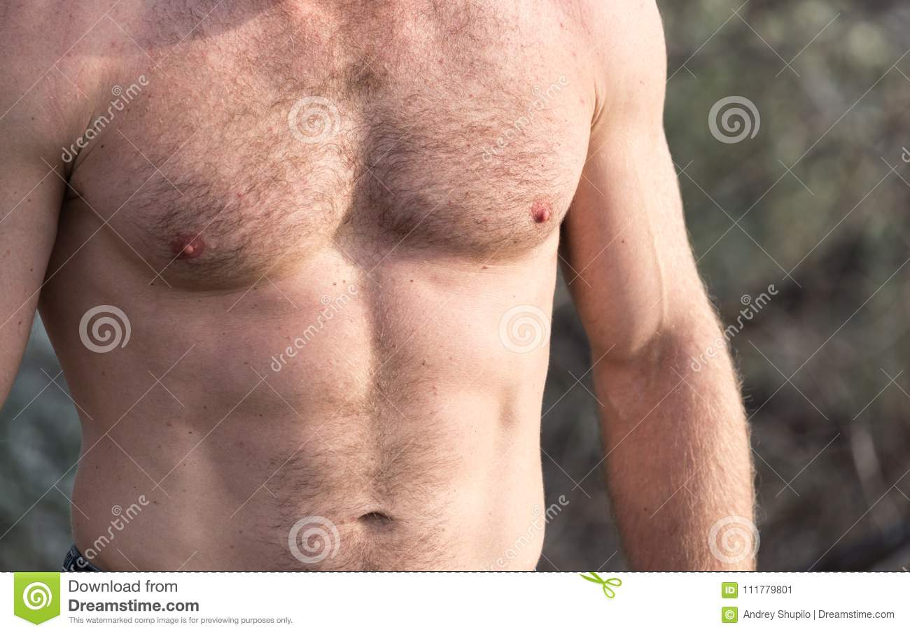 Men inflated chest as background