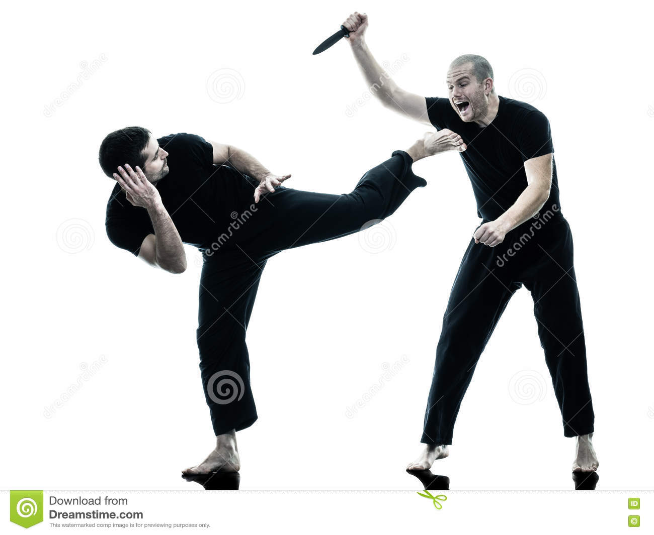 Men Krav Maga Fighters Fighting Isolated Stock Image - Image