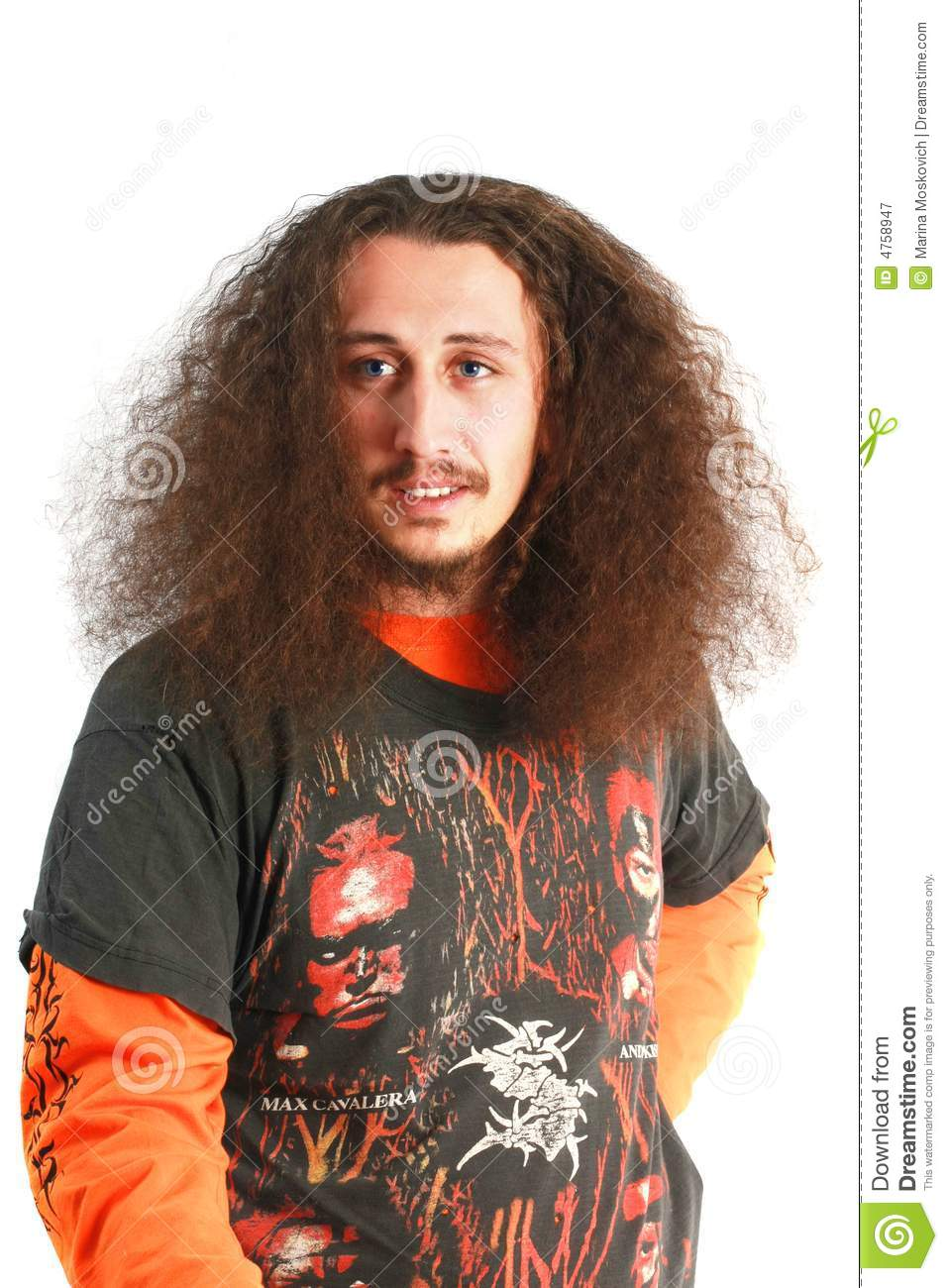 men with long curly hair stock image image of jowl roll