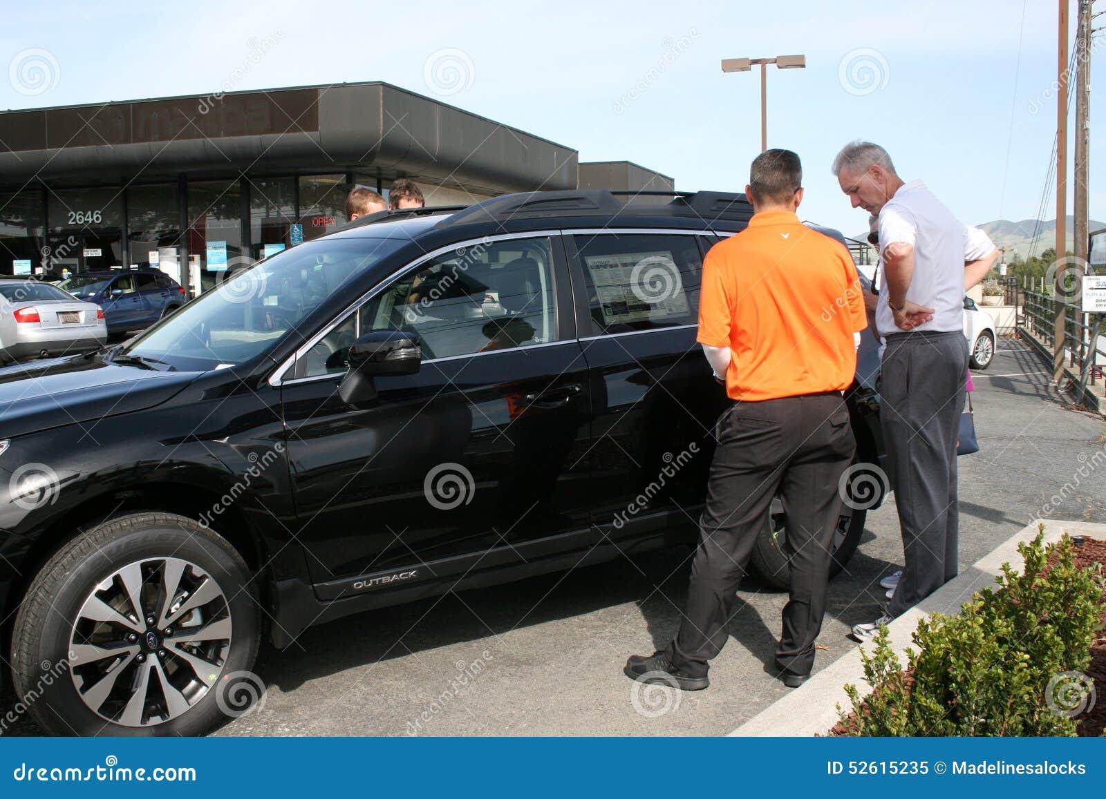 Walnut Creek Subaru >> Men Looking At A Car For Sale Editorial Image Image Of