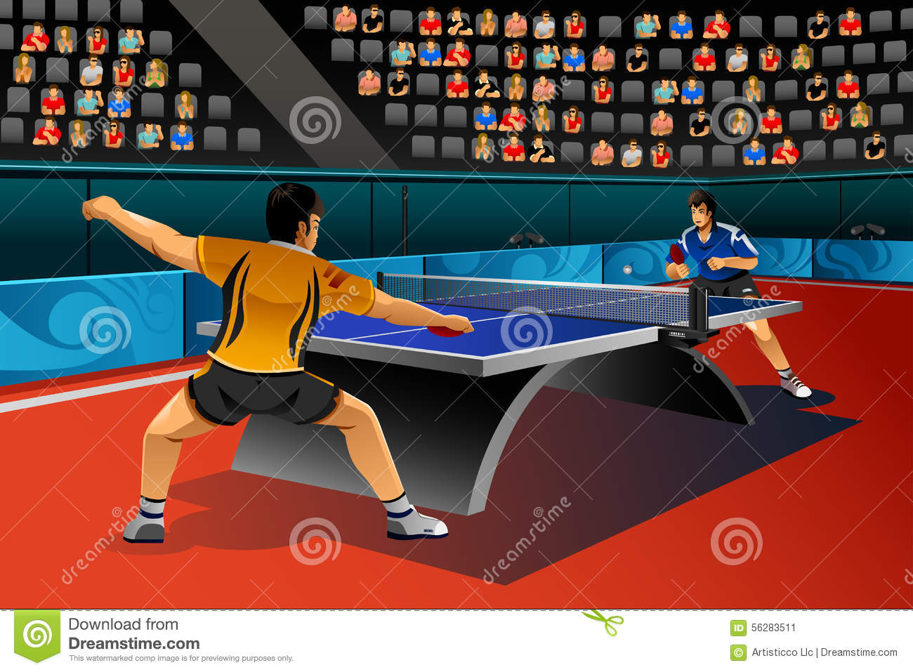 Men Playing Table Tennis In The Competition Stock Vector