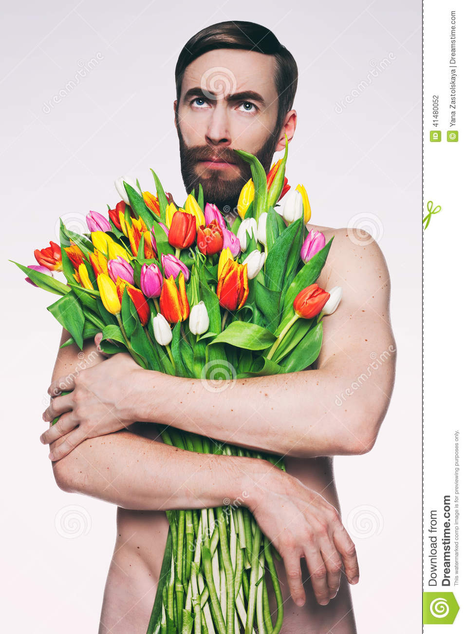 Men portrait with a bouquet of flowers stock photo image of male men portrait with a bouquet of flowers male looking izmirmasajfo Gallery