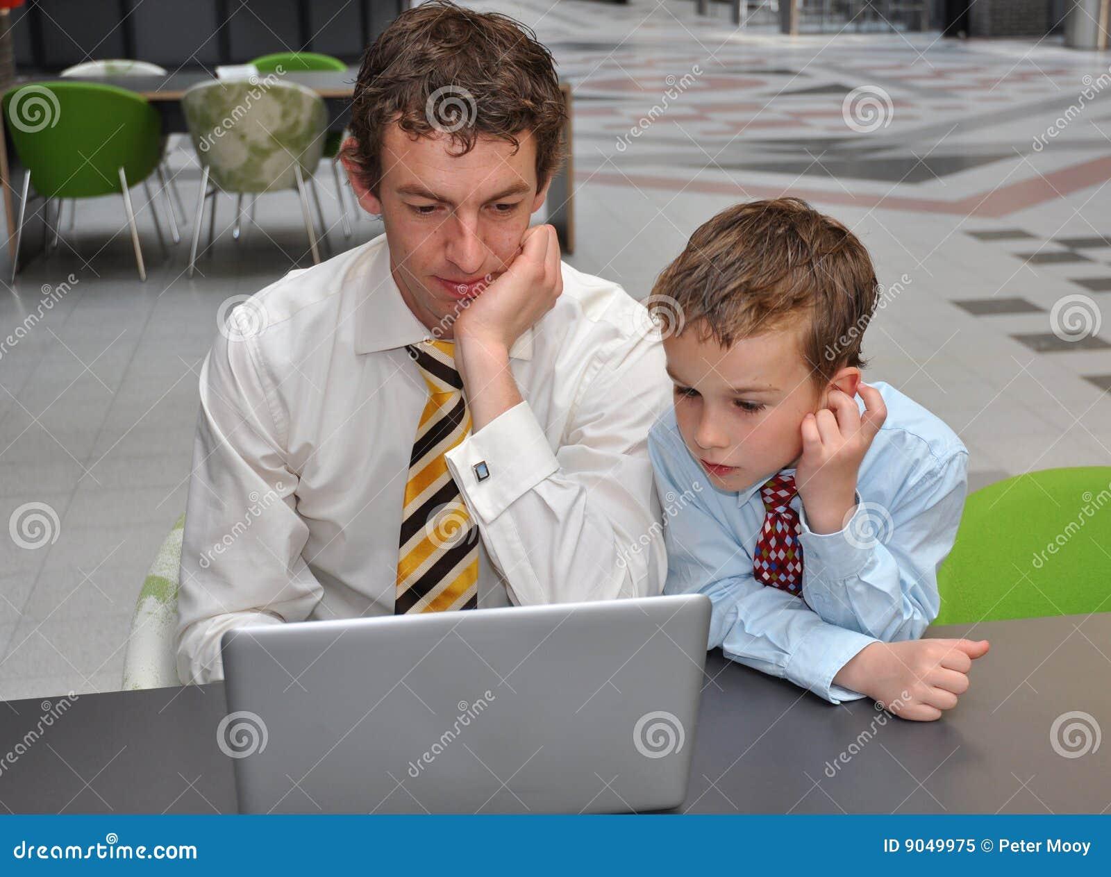Men preparing presentation