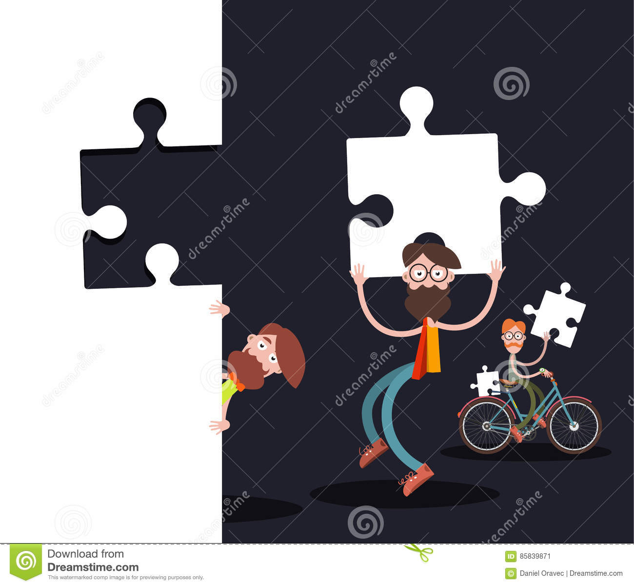 Men with Puzzle Pieces on Black Background
