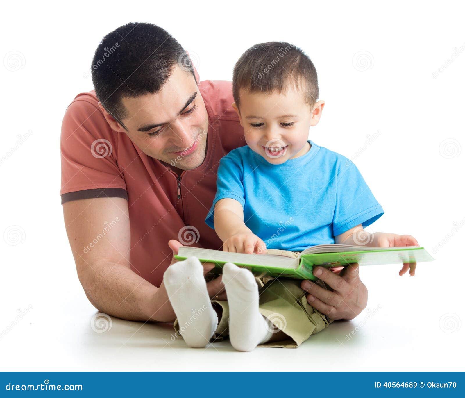 Men reading a book to son