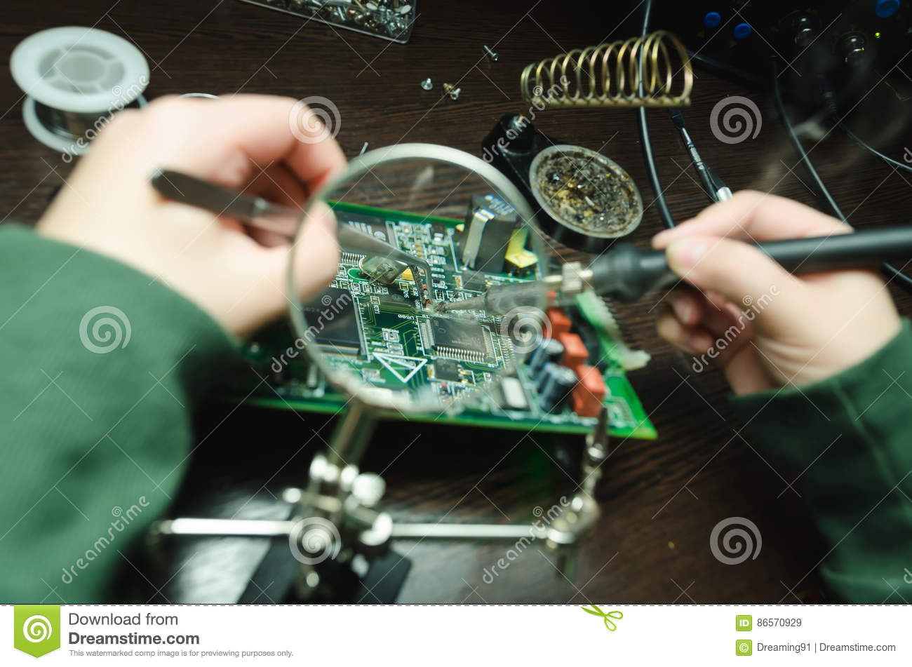 Men Repair With Magnifying Glass Electronic Board Stock Image Technician Repairing Circuit Soldering Iron Broken Disassembled Parts Through