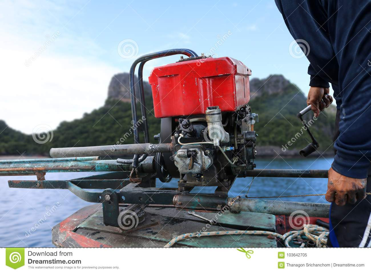 Man Start The Diesel Engine Of Long-tail Boat In Thailand  Editorial