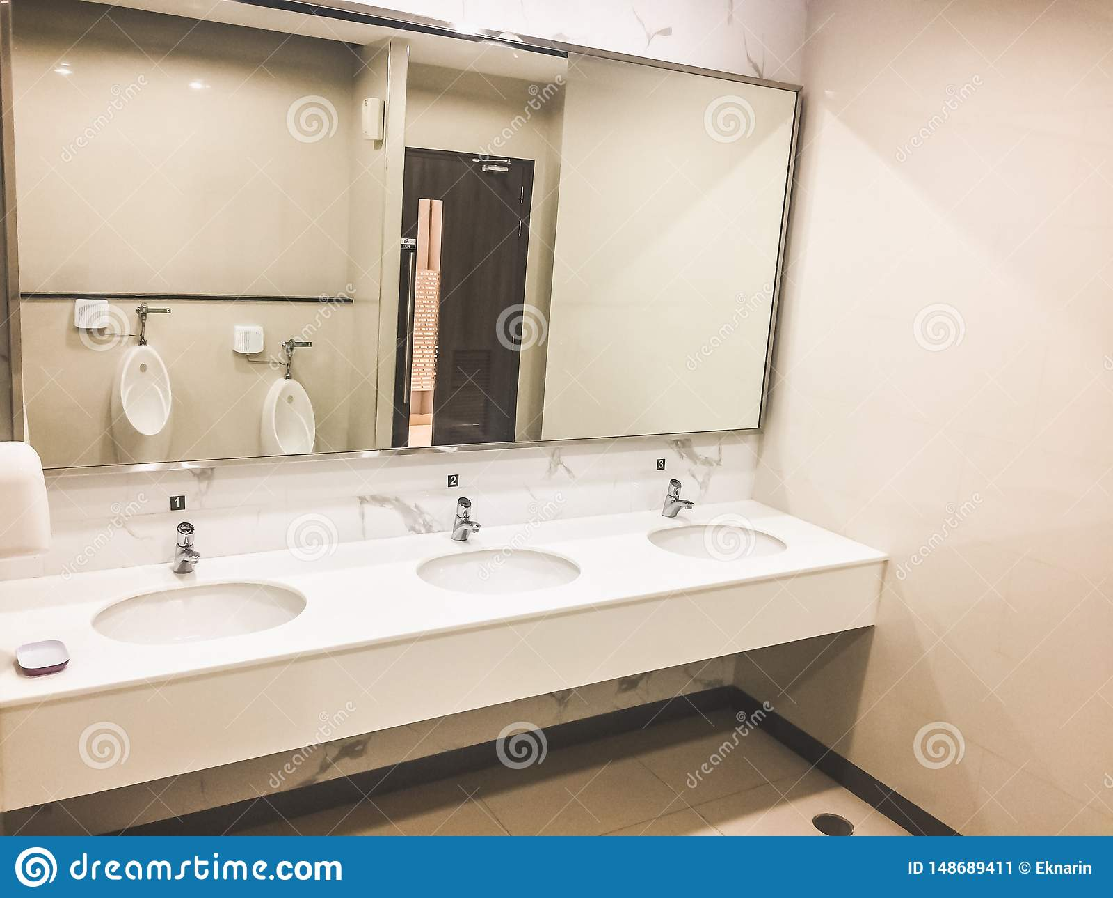 Men S Bathroom Interior Scene Stock Image Image Of Backgrounds Decoration 148689411