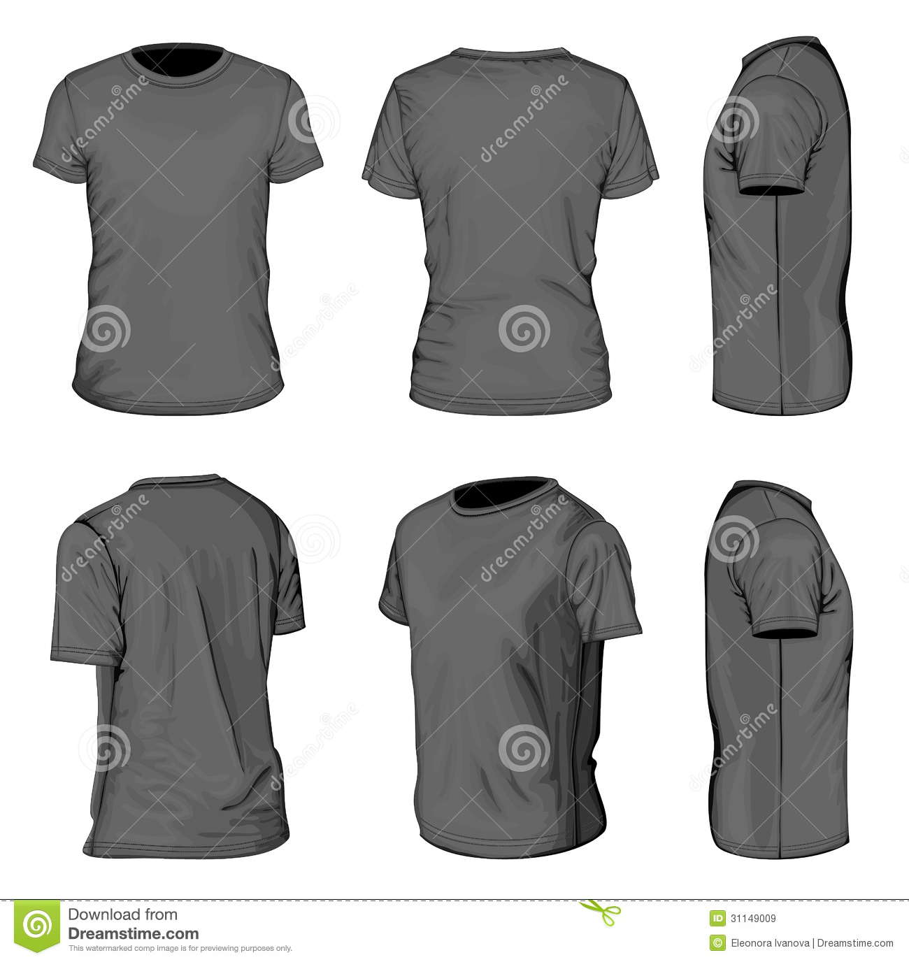 cd2cfdef All views men's black short sleeve t-shirt design templates (front, back,  half-turned and side views). Vector illustration. No mesh.