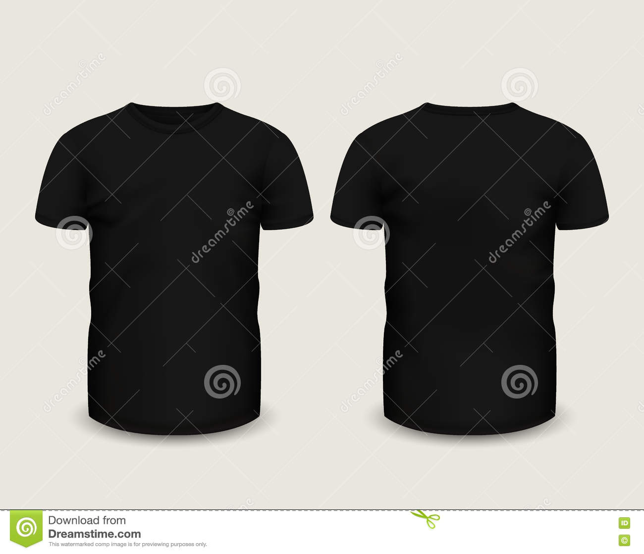 Blank black t shirt front and back - Men S Black T Shirt Short Sleeve In Front And Back Views Vector Template