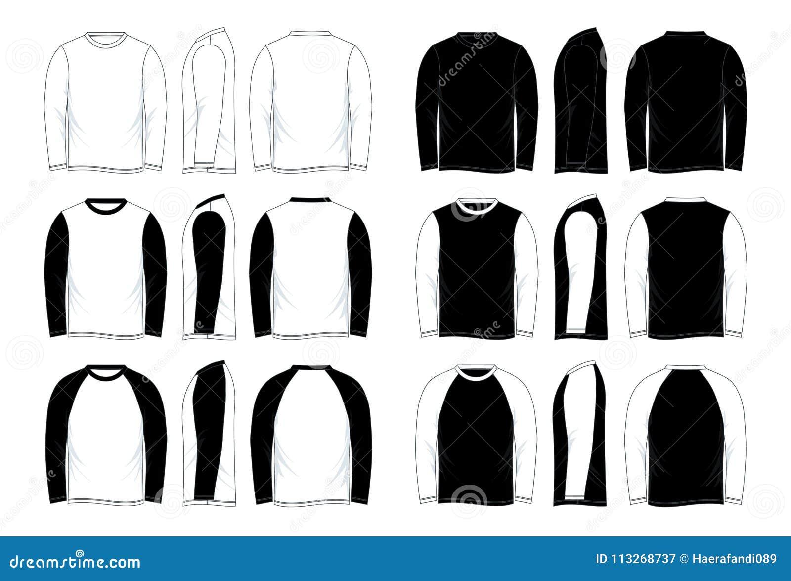 Mens Blank Black And White Long Sleeve Raglan Shirt Template