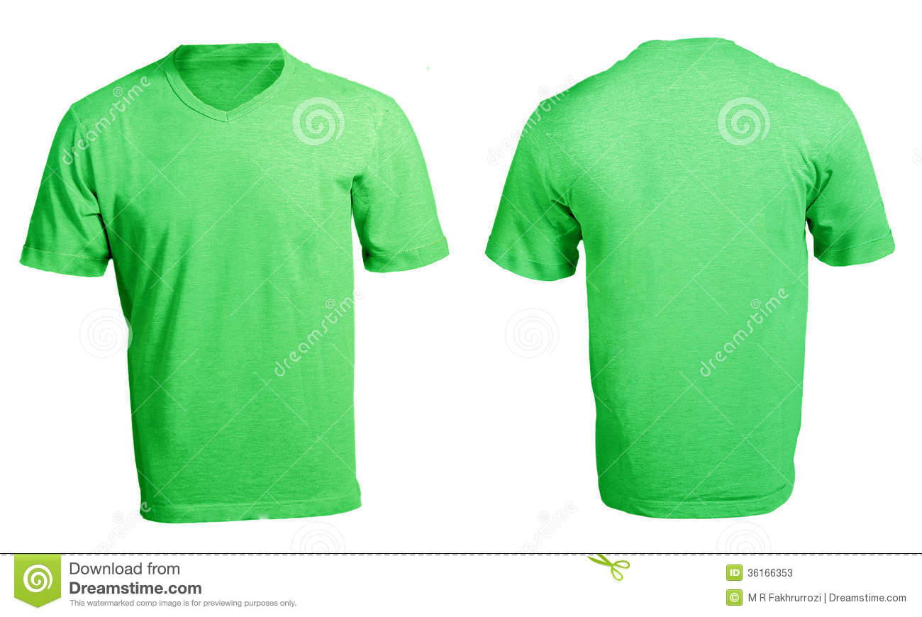 Men s blank green v neck shirt template stock photos image 36166353