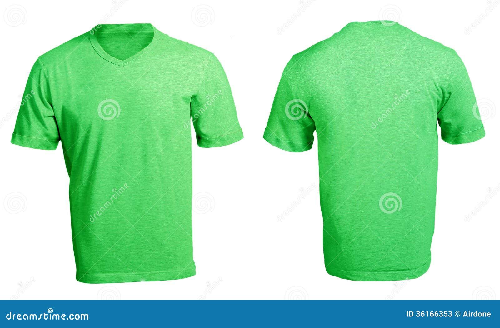 Men 39 s blank green v neck shirt template stock image for T shirt design v neck