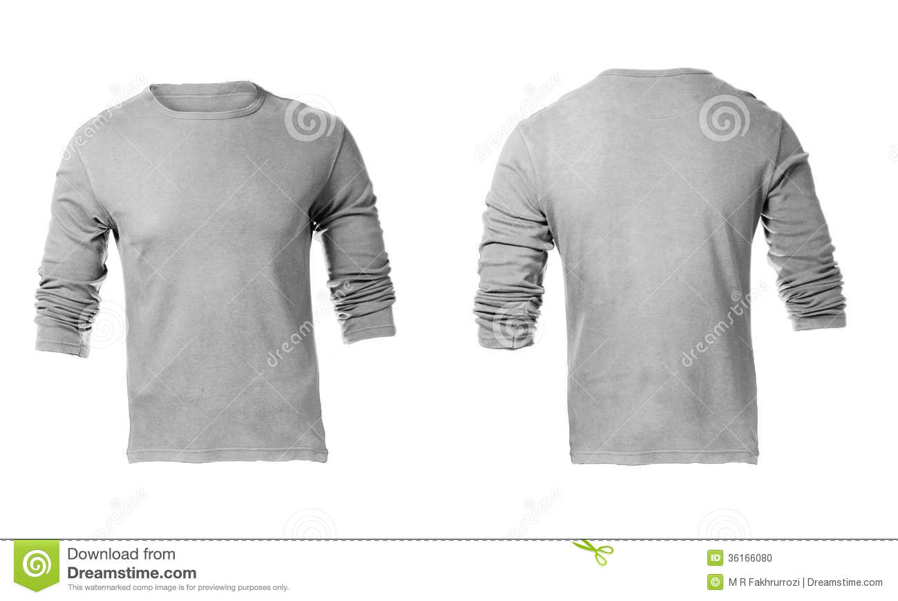 Men's Blank Grey Long Sleeved Shirt Template Stock Photo - Image ...