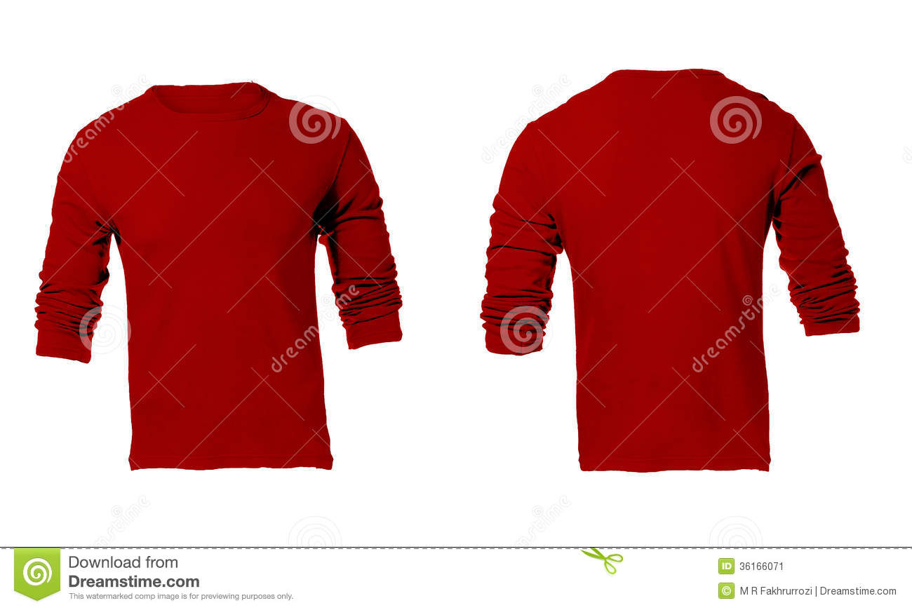 Men's Blank Red Long Sleeved Shirt Template Stock Image - Image ...