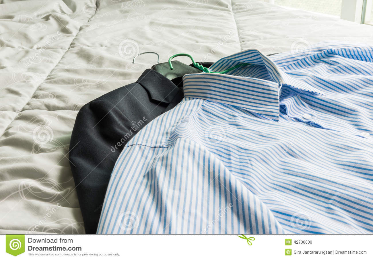Mens Bedroom Dress Up Mens Classic Shirts And Suit On The Bed Stock Photo Image 42700600
