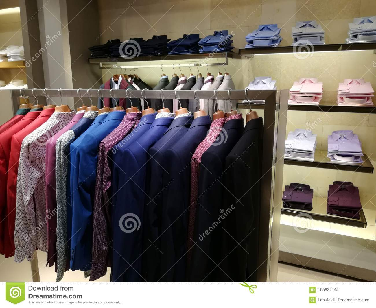 best website new style cheaper Clothing For Men In A Shop - Colorful Blazers Stock Image ...