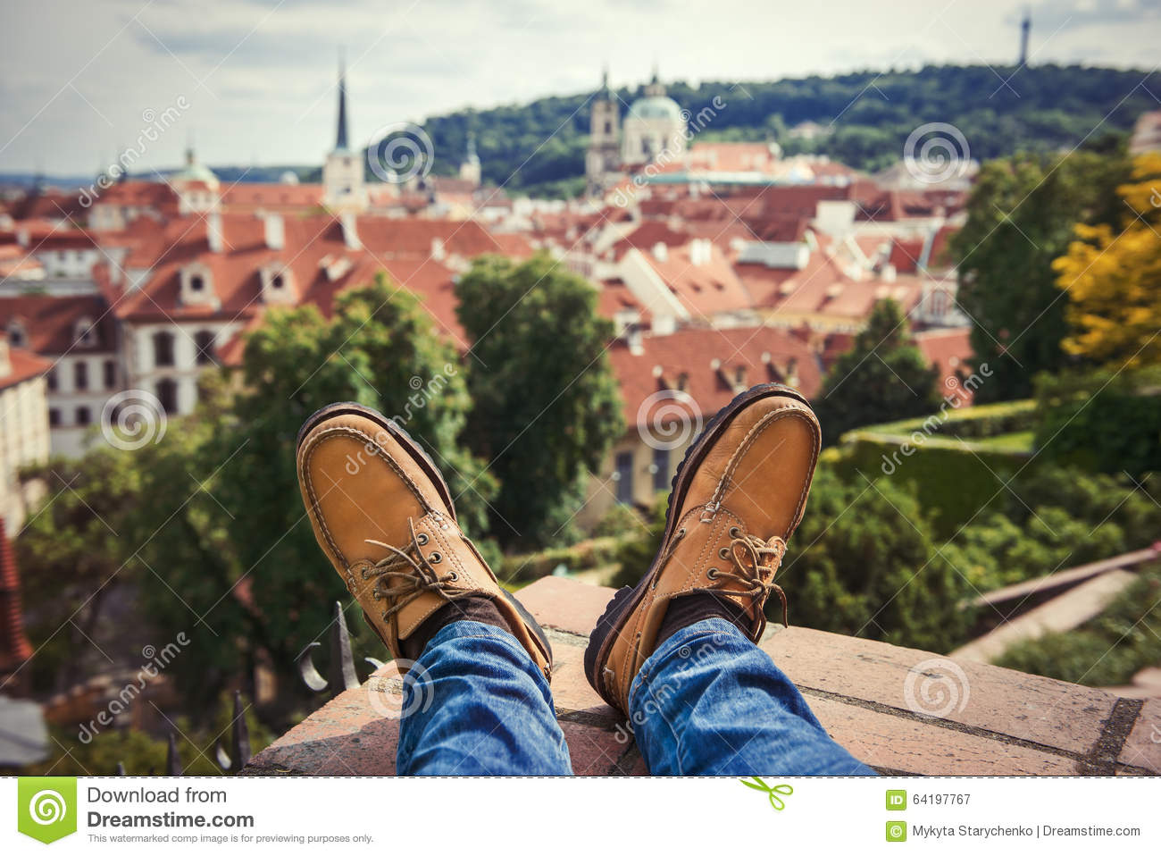 Men`s Feet Wearing Brownleather Shoes Relaxing On The ...