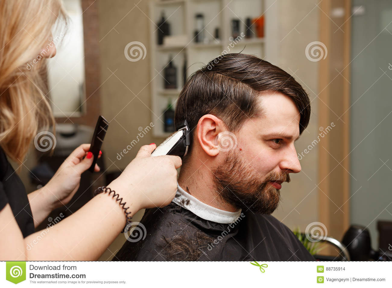 Mens Haircut Stock Photo Image Of Brush Hipster Mustache 88735914