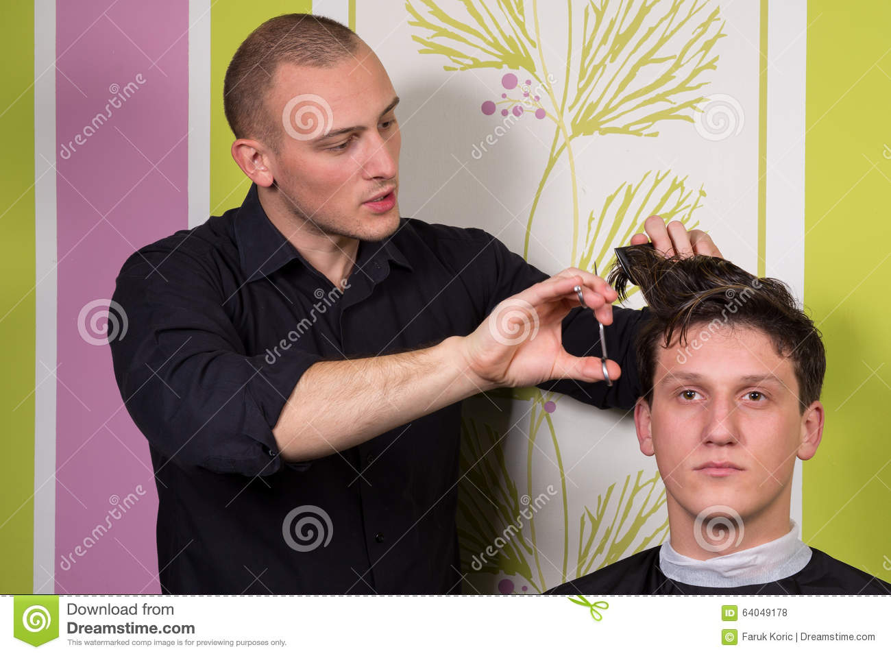 Men s hairstyling and haircutting with hair clipper and scissor