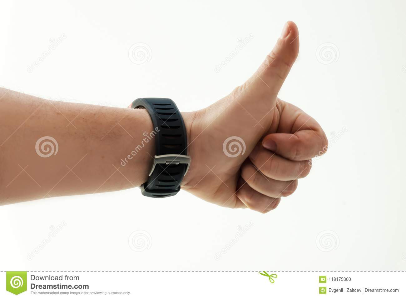 Men`s hand with smart watch on white background. Thumbs up. Success. Human emotion