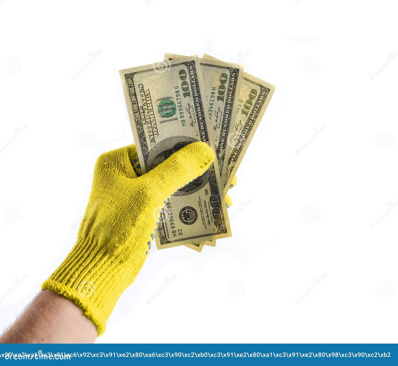 men's hands with orange work gloves hold hundreddollar