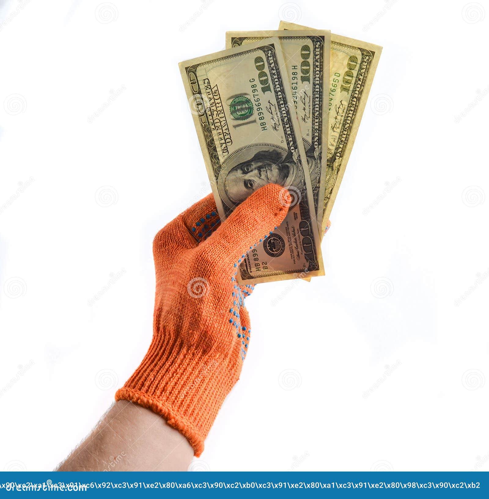men x27s hands with orange work gloves hold hundred